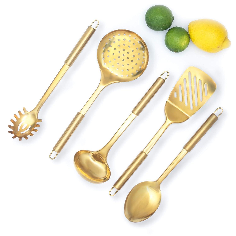Kitchen Skimmer Spatula Pasta Serving Fork Serving Spoon Rose Gold Kitchen Utensils -Stainless Steel Copper Serving Utensils Set 5 PCS-Copper Ladle Copper Cooking Utensils for Cooking//Serving