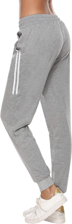 Aibrou Damen Strick Baumwolle Sporthose Sweathose mit B/ündchen Traininghose Jogging Hose Slim Fit