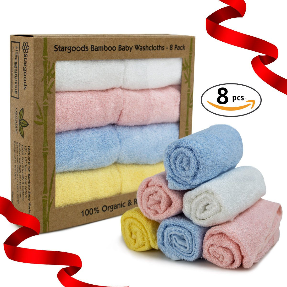 Bamboo Baby Washcloths for Face and Bath, Set of 8 Soft Natural Organic Towels Stargoods STA-BW-8PACK