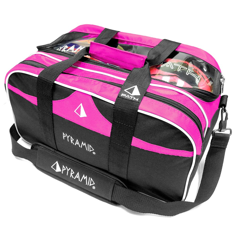 Path Double Tote Plus Clear Top Bowling Bag (Hot Pink)