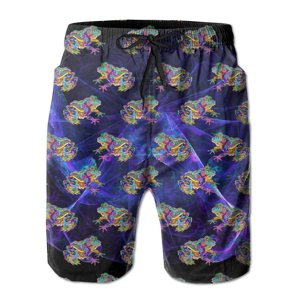 Men's Psychedelic Frog Pattern Quick-Dry Lightweight Fashion Board Shorts Swim Trunks XXL