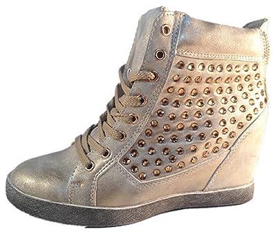 fashionfolie Zapatillas de Deporte Para Mujer Beige Marrón H7lcE