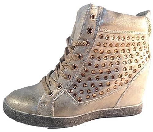 Modo de zapatillas Cuña para mujer, diseño de niña con un diamante talón compensado 8