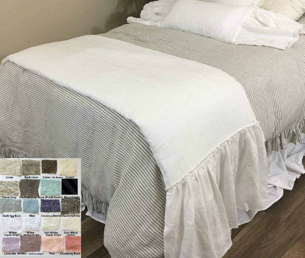 Image of Home and Kitchen Natural Linen Bed Scarf Long ruffles, Bed Runner, Multiple Colors, Awe so adorable! FREE SHIPPING