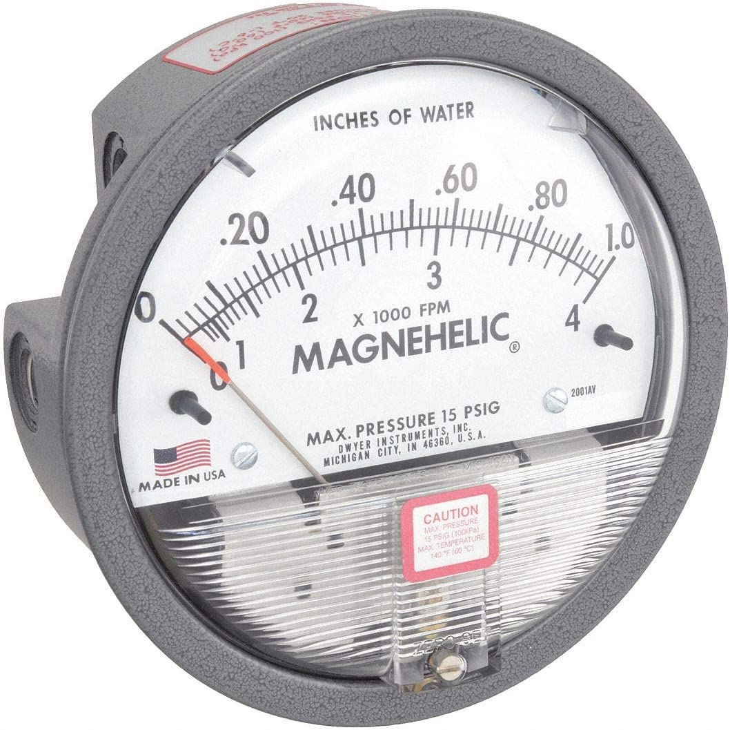 0-1.0w.c. /& 500-4000 fpm Dwyer 2001AV Magnehelic Differential Pressure Gauge