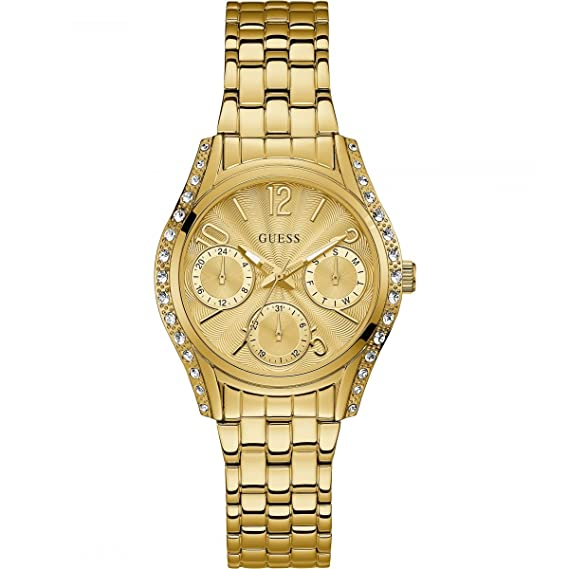 Guess Pulsera para Mujer de Acero Inoxidable con Reloj Dorado Prima W1020L2: Guess: Amazon.es: Relojes