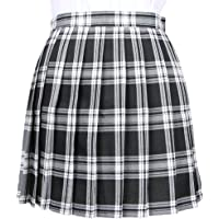 OCHENTA Women's High Waist Tartan Skater Cosplay Costumes Mini Skirts