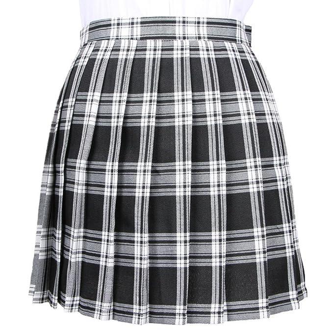 OCHENTA Mujeres Falda Escocesa Plisada con Cintura Escuela Uniforme Falda  Cuadros Blanco Negro XXS (CN 0c79674226f0