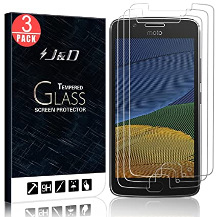 J&D Compatible for 3-Pack Moto G5 Glass Screen Protector, [Tempered Glass]  [Not Full Coverage] Ballistic Glass Screen Protector for Motorola Moto G5