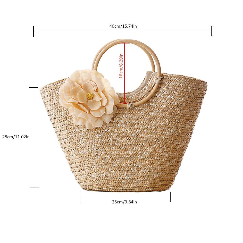 cesta de almacenamiento playa pajita de verano Sue Supply Cesta de mimbre pura tejida a mano con asa tejida bolsas de la compra de moda para mujer bolsas