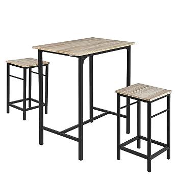 ed209f51588280 SoBuy® OGT10-N Set de 1 Table + 2 Tabourets Ensemble table de bar ...