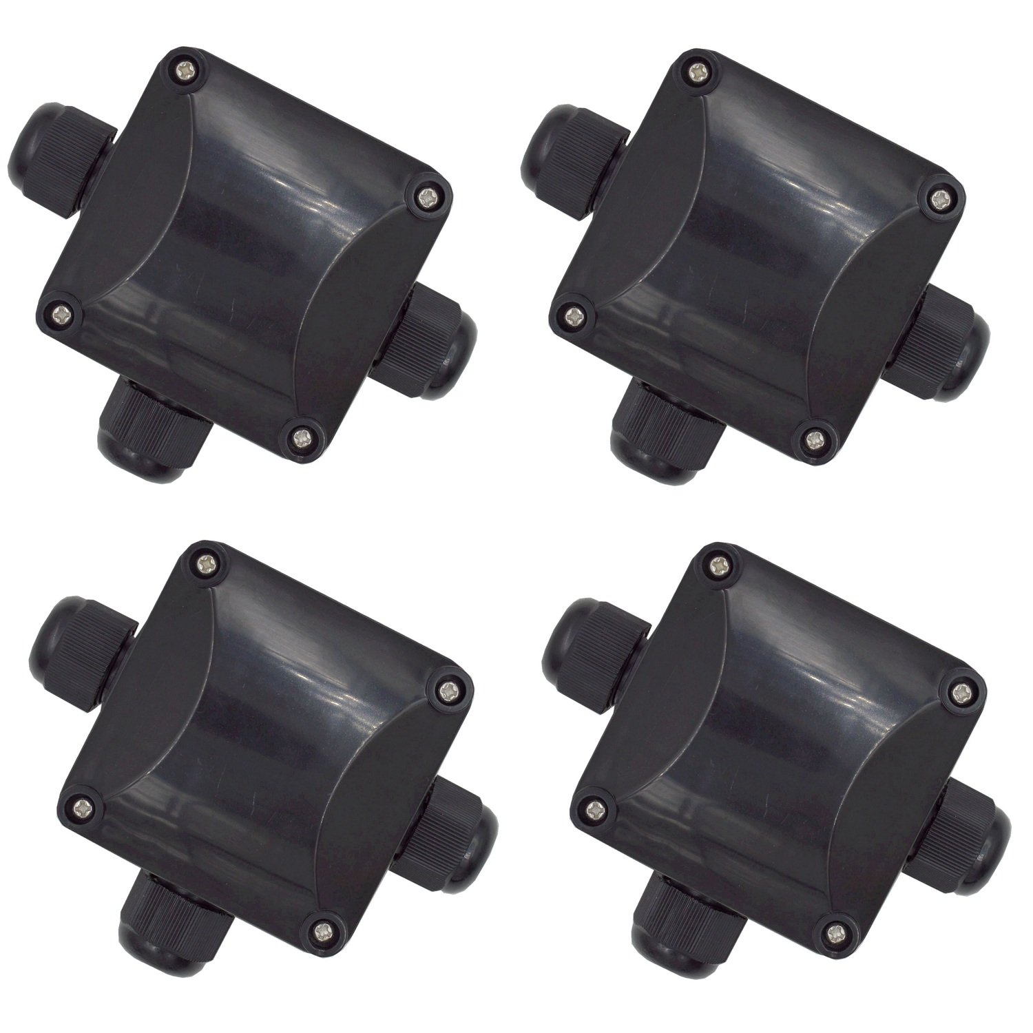 DerBlue 4PCS Junction Box,Waterproof IP68 Outdoor 3 Way Electric Cable Junction Box, Underground Cable Line Wires Power Cord Connector Protection (Black)