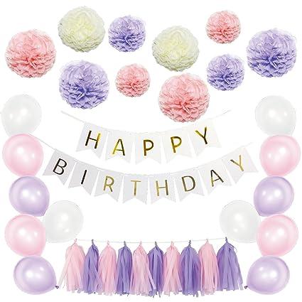 Color morado y rosa globo de cumpleaños decoraciones para pompones ...