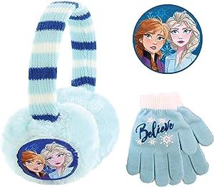 Disney Frozen 2, Girls Plush Earmuffs Set, Light Blue, Gloves - Age 4-7