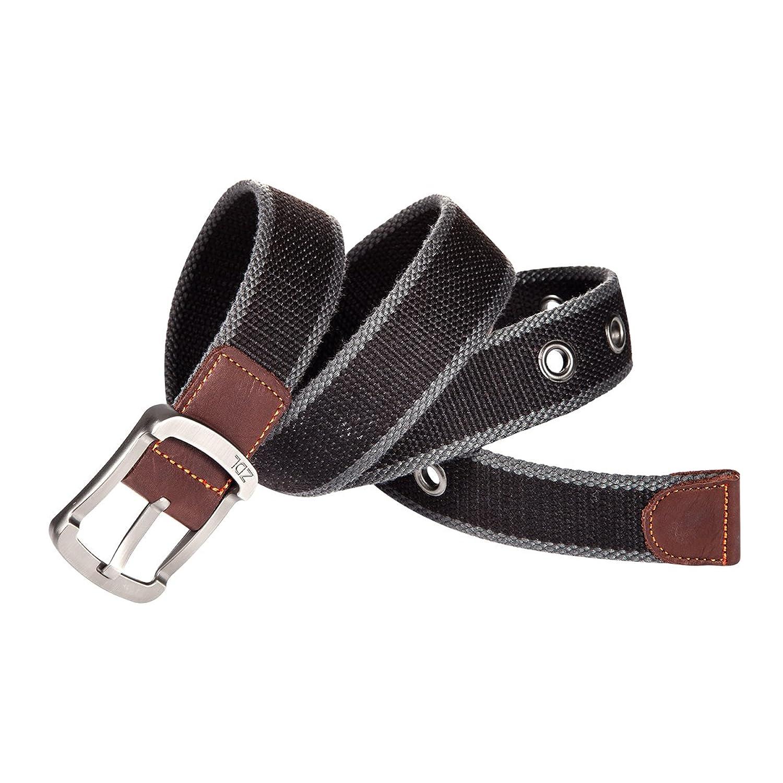 HBF Unisex Cinturón Hombre Lona Hebilla Metálica Longitud 115 cm ancho 3.5 cm Cinturón Mujer Con 9 Agujeros Metal CHx7LgJZ9