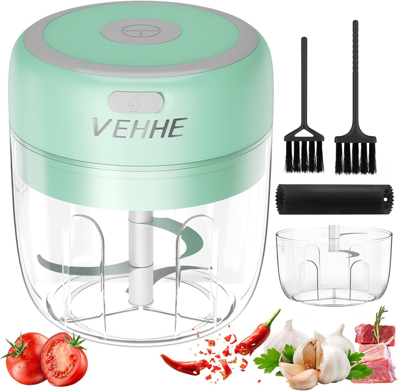 Electric Mini Garlic Chopper, Food Chopper, Garlic Mincer for Spice & Onion, Portable Seasoning Grinding Machine, Palm-sized Garlic Blender Presses for Kitchen with 2 Bowls (250ml+150ml)