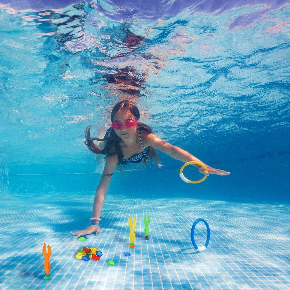 4Pcs Honkid Underwater Swimming//Diving Pool Toys Diving Rings 4Pcs ,Torpedo Bandits with Under Water Treasures Gift Set Bundle and Waterproof Storage Bag,Pack of 20