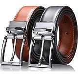 """Zeuste-cinturon hombre,Cinturón Cuero Marrón Negro, Hebilla de cuero reversible de 1.25""""con caja de regalo con hebilla…"""