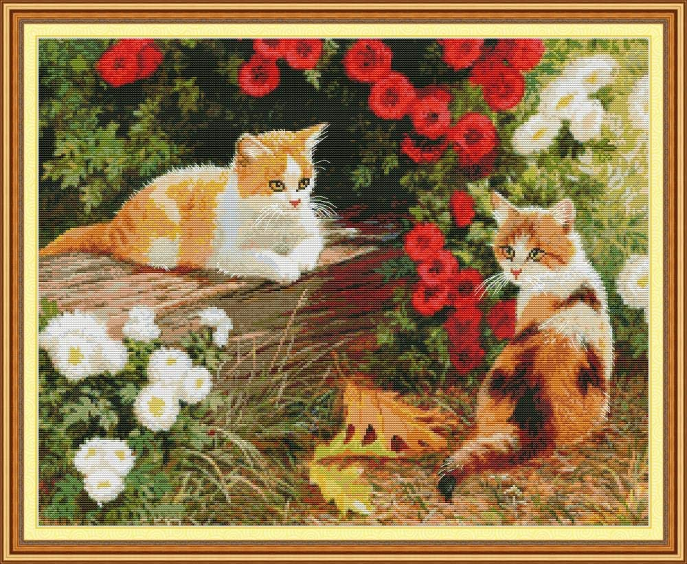 YEESAM ART Cross Stitch Kits Stamped for Adults Beginner Kids, Cat Kitten in The Flowers Garden 11CT 73×60cm DIY Embroidery Needlework Kit with Easy Funny Preprinted Patterns Needlepoint Christmas