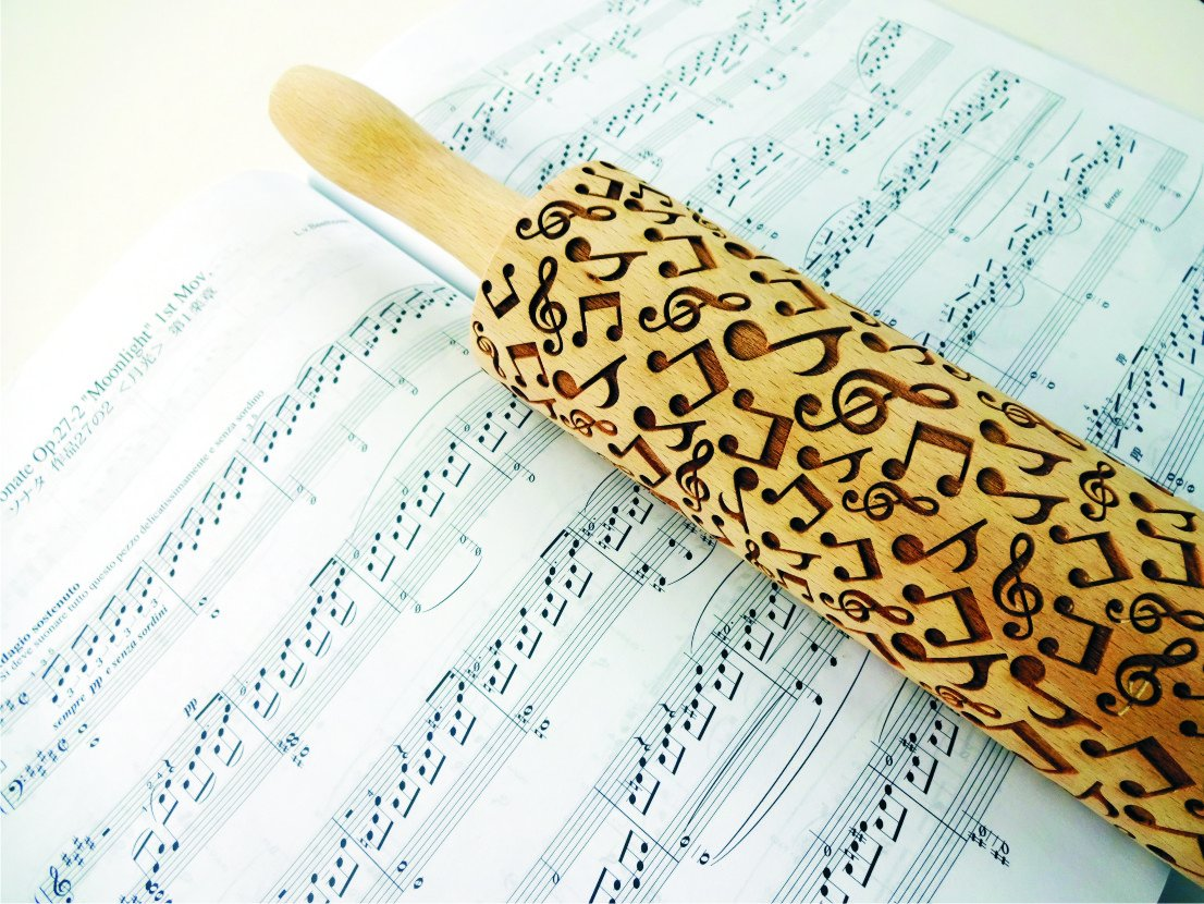 Rolling pin MUSIC SOUNDS. Wooden embossing rolling pin with Oriental flowers. Embossed cookies. Pottery. Birthday gift. Gift for mother