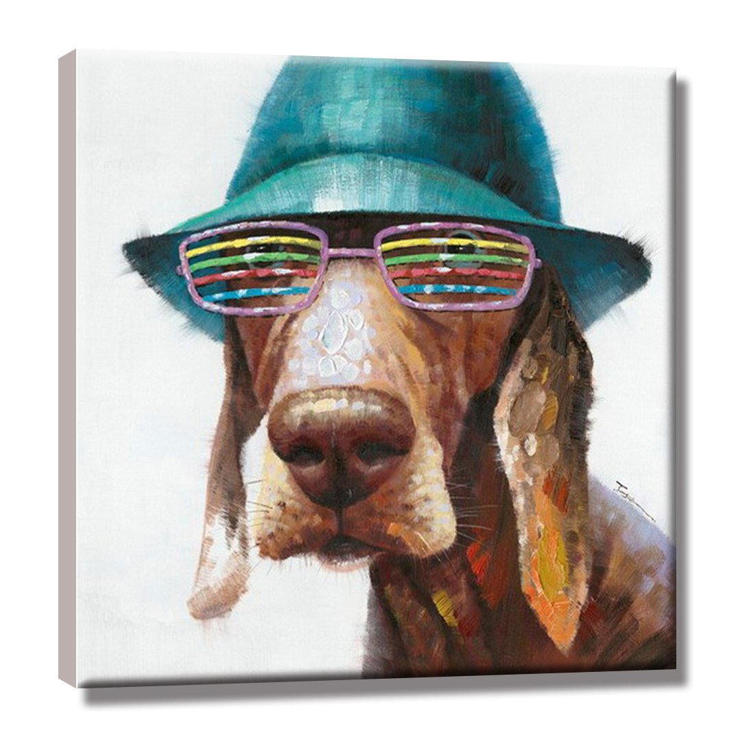 SEVEN WALL ARTS - 100% Hand Painted Oil Painting Animal Cute Dog Wears Colorful Glasses with Stretched Frame 24 x 24 Inch by SEVEN WALL ARTS (Image #2)