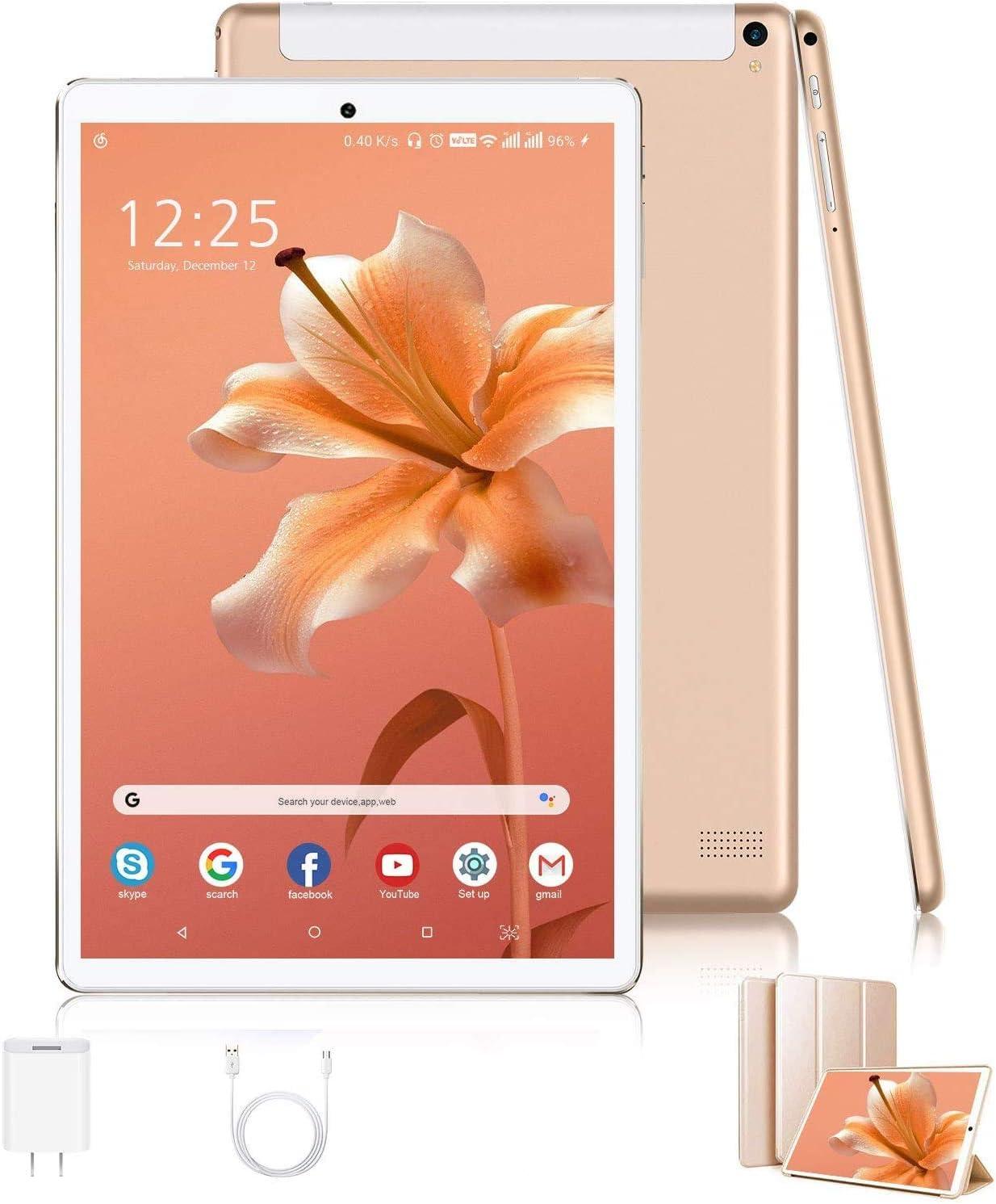 Tablets 10.1 Pulgadas 4G Android 10 3GB RAM 32GB ROM 128GB Escalables de Memoria Tableta PC 8000mAh Quad-Core 8MP Dual SIM Tablet Baratos y Buenas 4G WiFi Bluetooth Netflix (Oro)