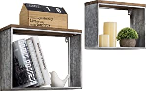 MyGift Burnt Wood & Galvanized Silver Metal Wall Mounted Shadow Box Floating Shelves, Set of 2
