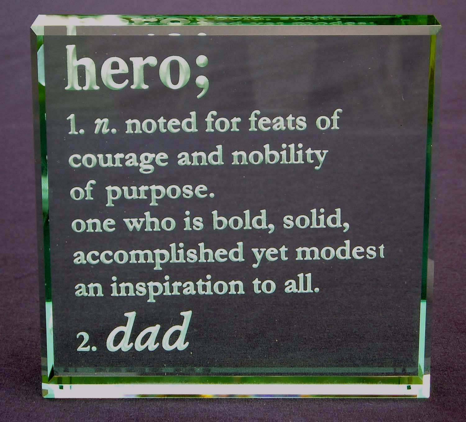 Personalized Definition of Hero: Etched Glass Paperweight Engraved With Heros Name