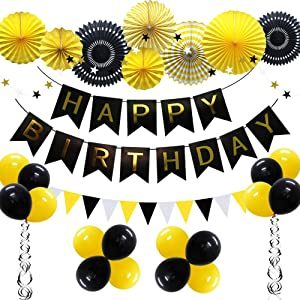 ADLKGG Yellow Black Party Birthday Decoration, Happy Birthday Banner with Balloons, Triangular Pennants, Hanging Swirls, Paper Fans, Circle Star Paper Garland for Baby Shower Bumble Bee Theme Birthday