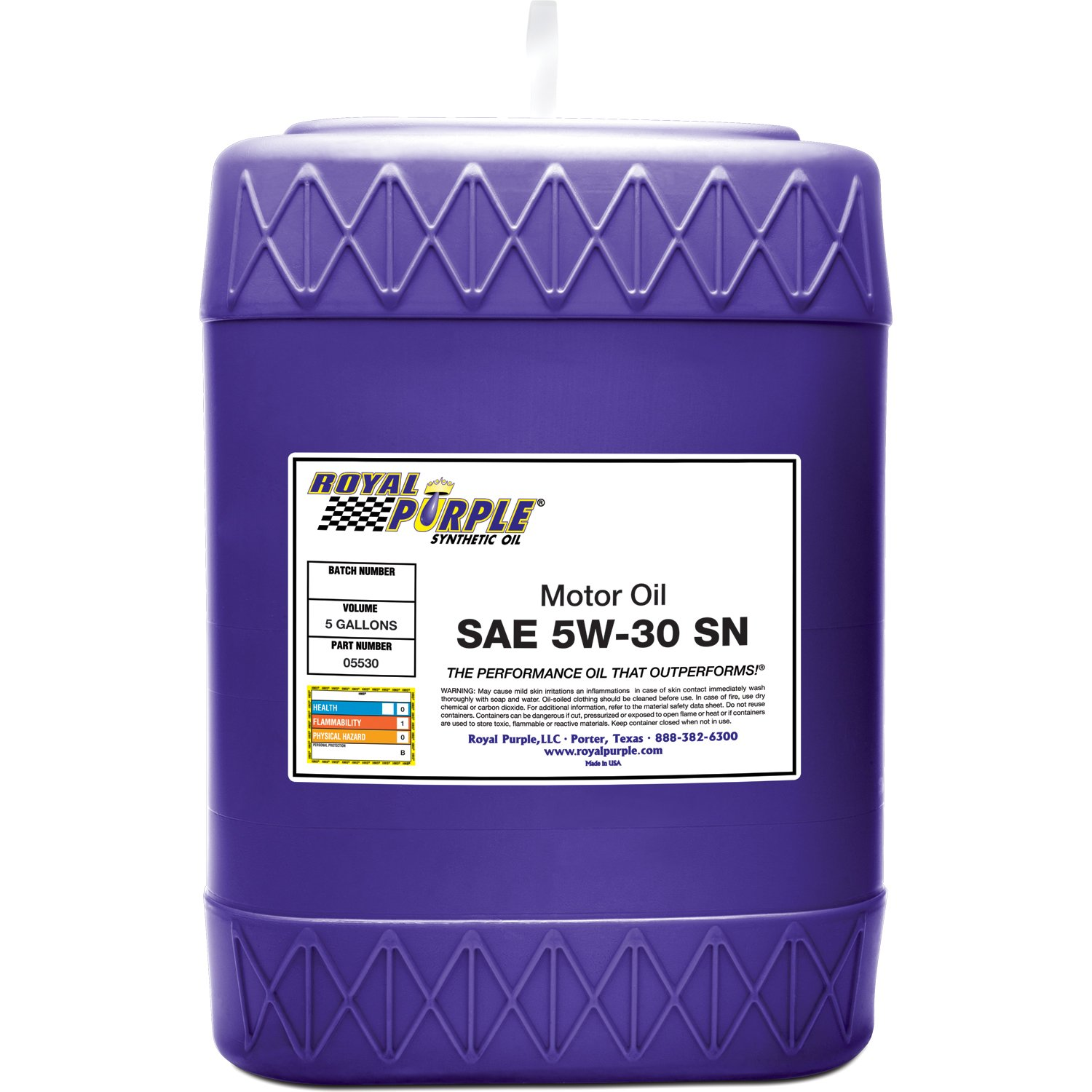 Royal Purple 05530 API-Licensed SAE 5W-30 High Performance Synthetic Motor Oil - 5 gal. by Royal Purple