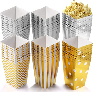 POAO 50 pcs Cajas de Palomitas de maíz, envases de Caramelos de cartón, Bolsas de Fiesta, contenedores para el Regalo de Boda de cumpleaños, 12x7cm: Amazon.es: Juguetes y juegos
