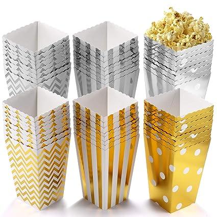 POAO 50 pcs Cajas de Palomitas de maíz, envases de Caramelos de cartón, Bolsas de Fiesta, contenedores para el Regalo de Boda de cumpleaños, 12x7cm