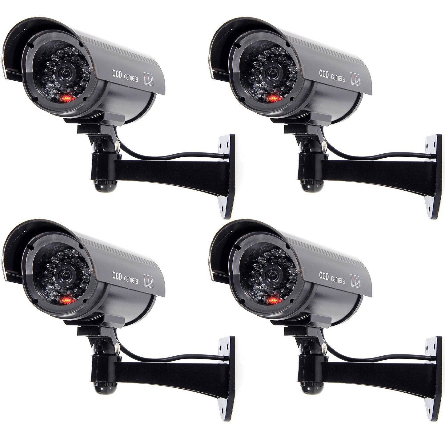 WALI Bullet Dummy Fake Surveillance Security CCTV Dome Camera Indoor Outdoor with 1 Flashing LED Light + Warning Security Alert Sticker Decals WL-B1-4 (Black), 4 Pack