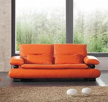 Amazon.com: 410 Sofa | Orange Leather: Home & Kitchen
