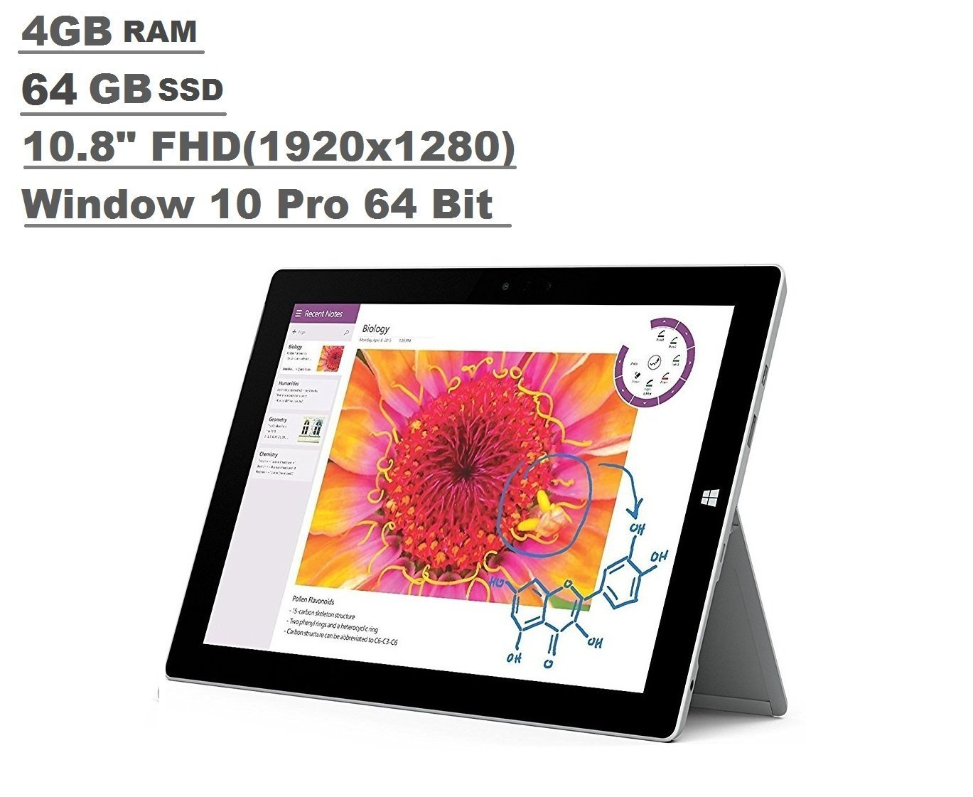 Microsoft Surface 3 Tablet (10.8-inch FHD (1920x1280), 4GB RAM, 64GB SSD, Intel Atom 1.6Ghz, Windows 10 Professional 64 Bit) (Certified Refurbished)