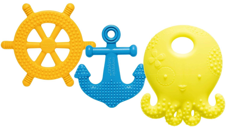 Aqua bbl/üv Chillable Textured Teething Toy G/ümi Owl