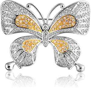 Vintage Style Two Tone Yellow White Pave Golden CZ Butterfly Cubic Zirconia Brooch Pin for Women Gold Plated