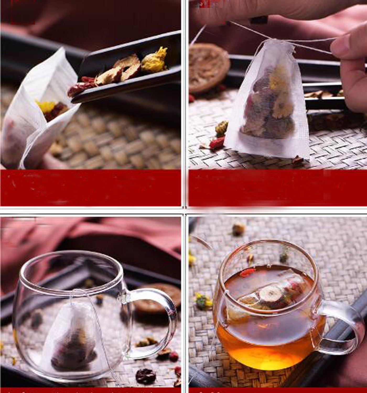 100X Teebeutel Teefilter Einweg Teabag Drawstring Einwegbeutel Teebeutel Filterpapier Leere Teebeutel Taschen für lose Blatt Tee Pulver Kräuter [Abmessung:5.5 * 7cm] Istloho