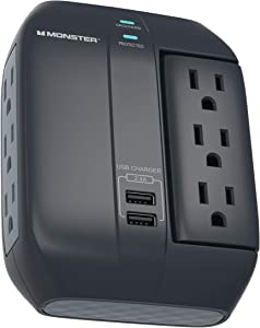 Monster Swivel Socket Wall Tap Surge Protector - Power Surge Protector with Wall Mount - Heavy Duty Protection with up to 6 AC and 2 USB Ports - Ideal for Computers, Home Theatre and Home Appliance