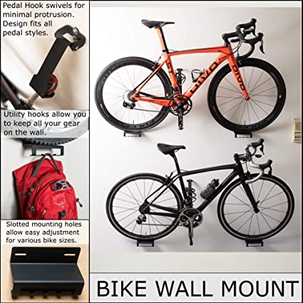 Bicycle Wall Mount Storage Holder Stand Bike Pedal Wheel Hanger Hook Mount Rack