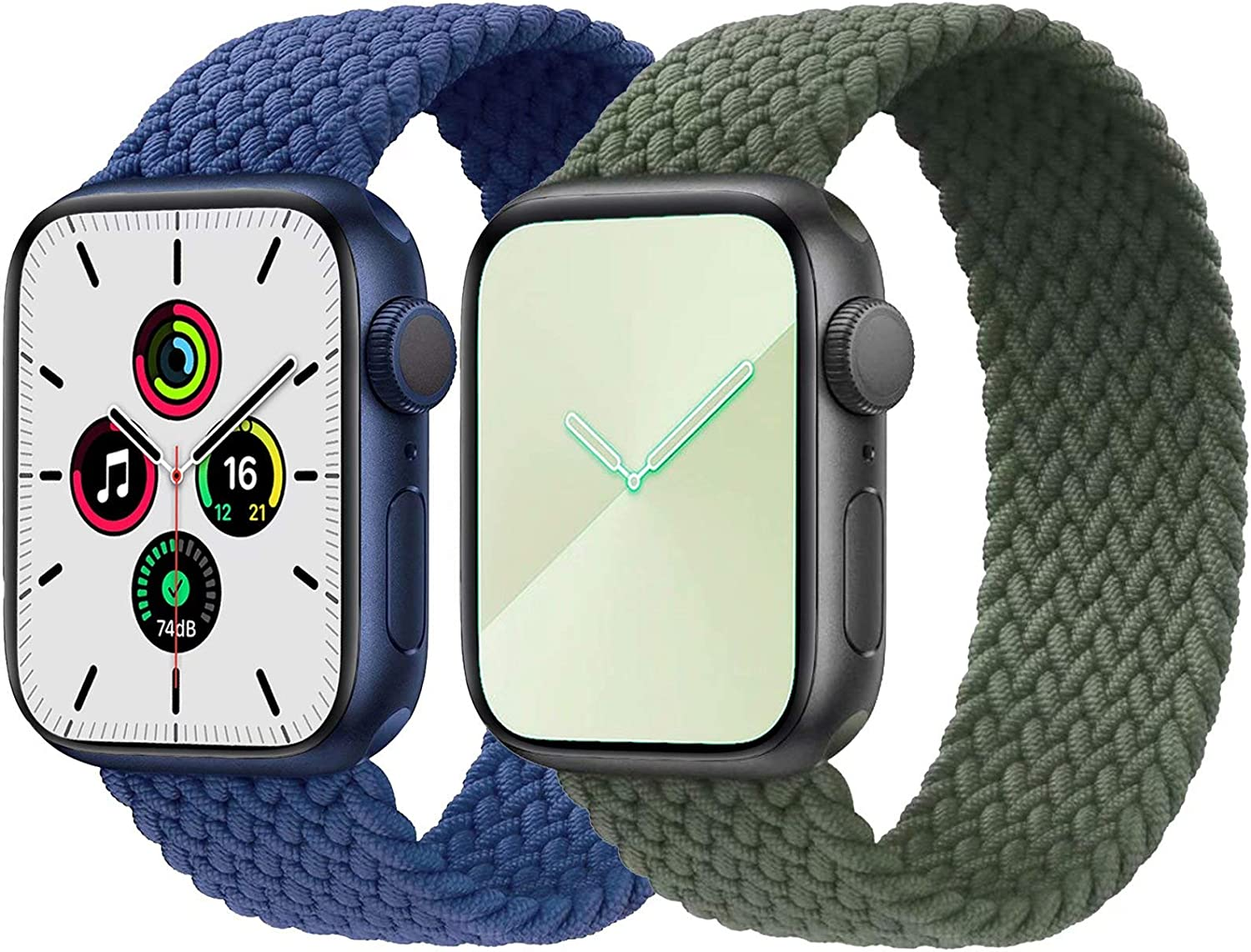 2-Pack Solo Loop Strap Compatible with Apple Watch Band 42mm 44mm,No Clasps No Buckles Stretchable Braided Sport Elastics Replacement Wristband for iWatch Series 6/5/4/3/2/1,SE,Blue&Green,7#