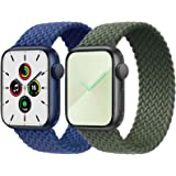 2-Pack Solo Loop Strap Compatible with Apple Watch Band 42mm 44mm,No Clasps No Buckles Stretchable Braided Sport Elastics Rep