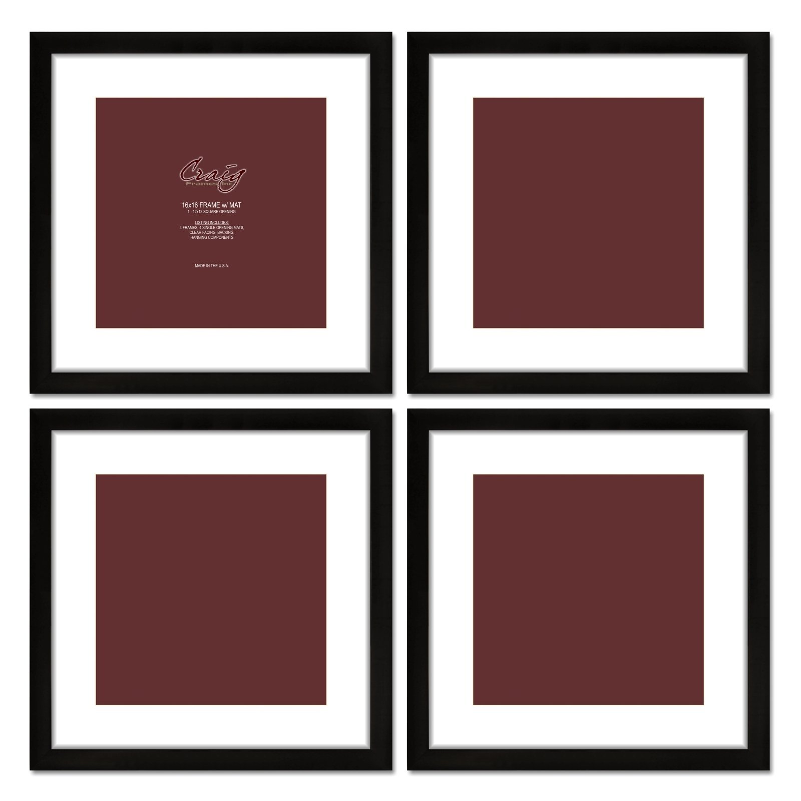 Craig Frames 1WB3BK 16 by 16-Inch Black Picture Frame, White Mat with 12 by 12-Inch Opening, 4-Piece Set by Craig Frames