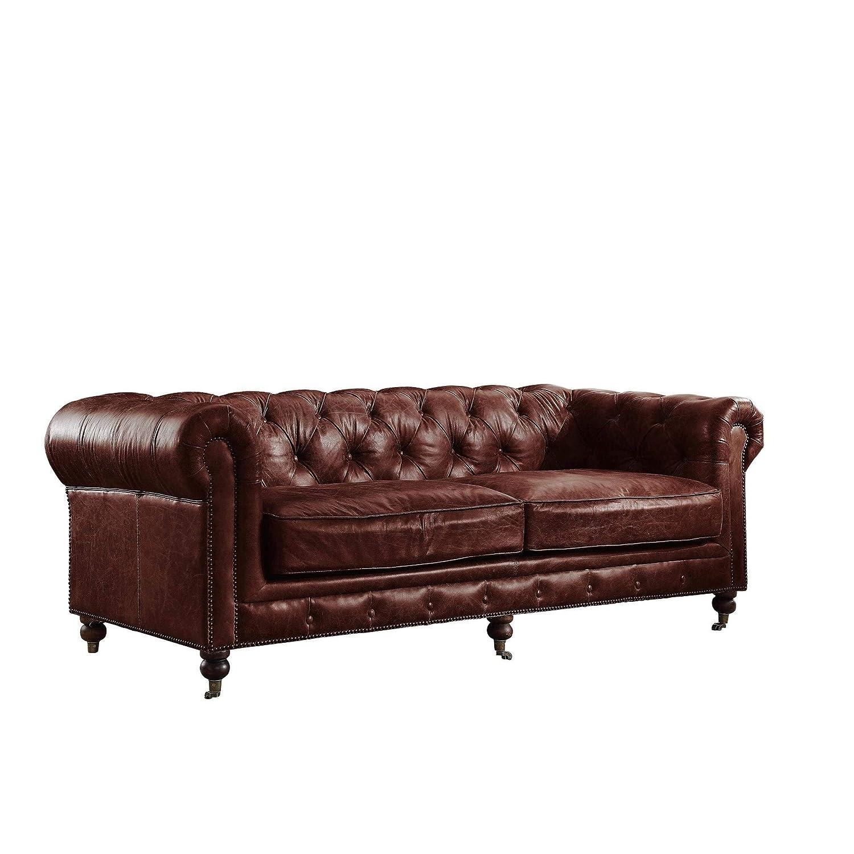 Amazon.com: ACME Sofa Vintage Dark Brown TG Leather: Kitchen ...