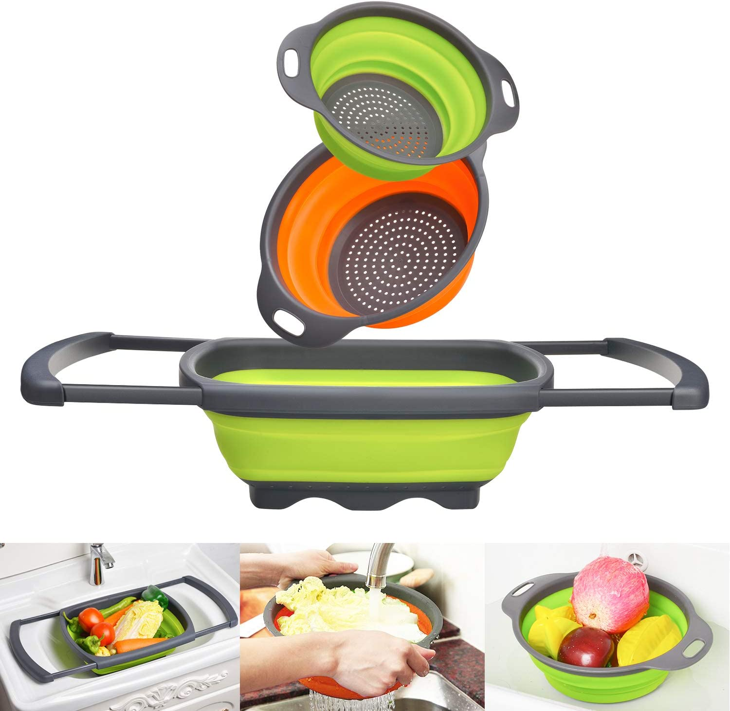 Goodking 3 Pack Collapsible Colander Set, Over the Sink Food Colanders Strainers with Extendable Handles, 6-Quart& 4-Quart& 2-Quart, Space-Saving Kitchen Foldable Strainer for Draining Vegetable Fruit