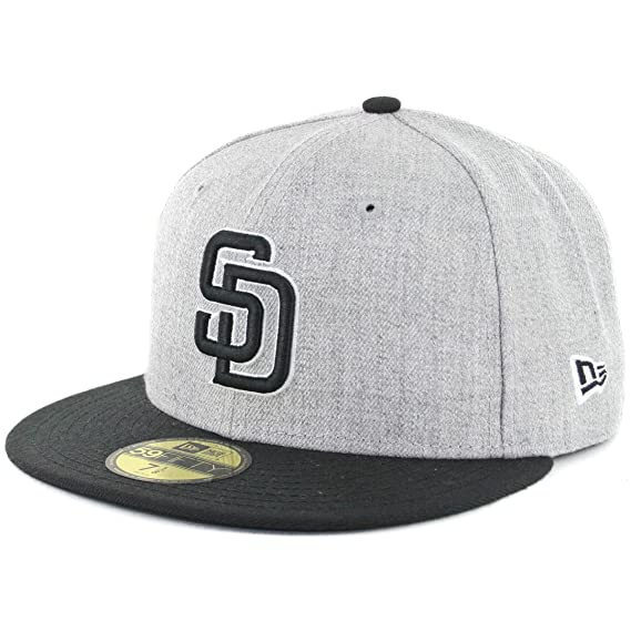 the best attitude 0e0df 7dad0 Amazon.com   New Era 5950 San Diego Padres Fitted Hat (Heather Grey Black White-BK)  MLB Cap   Sports   Outdoors