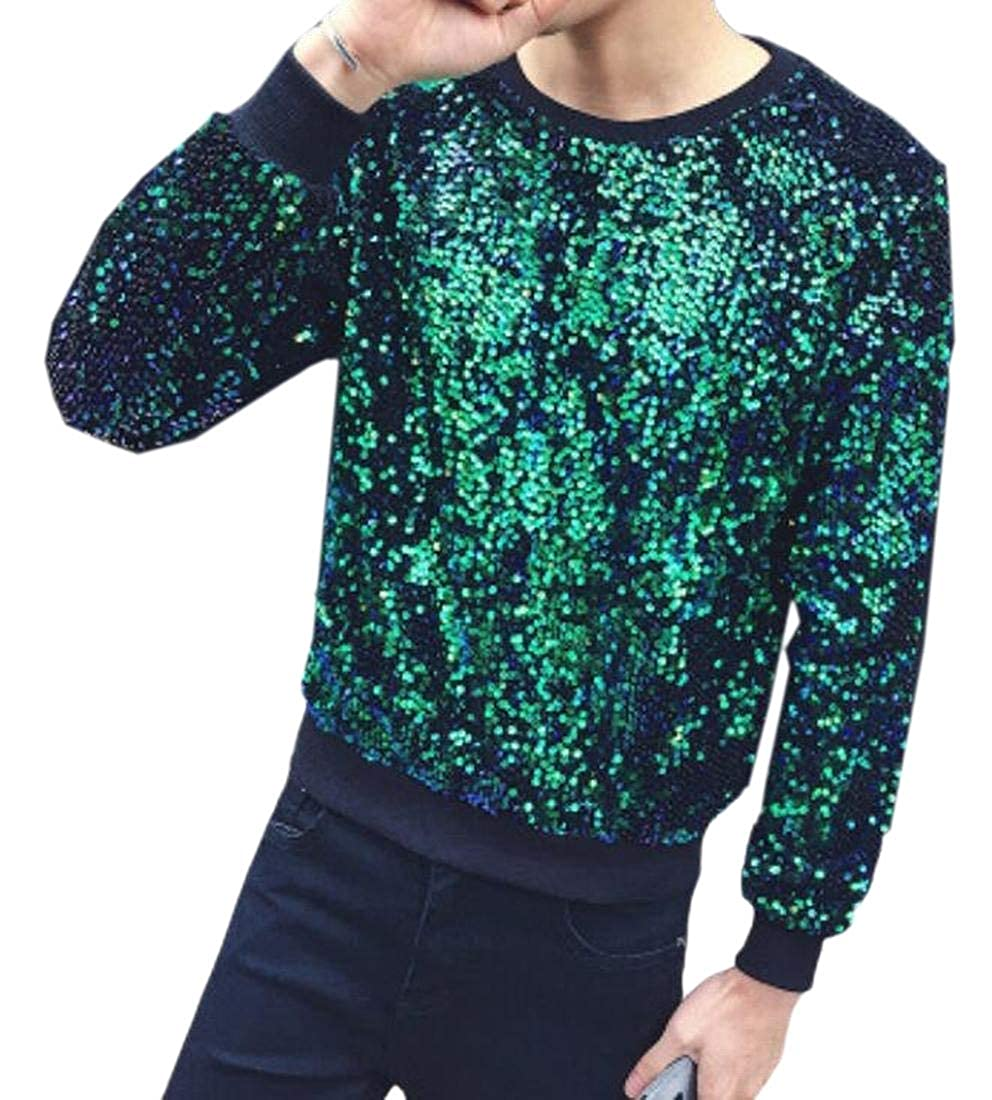 WSPLYSPJY Mens Classic Party Slim Fitted Sequin Crewneck Outwear Sweatshirts