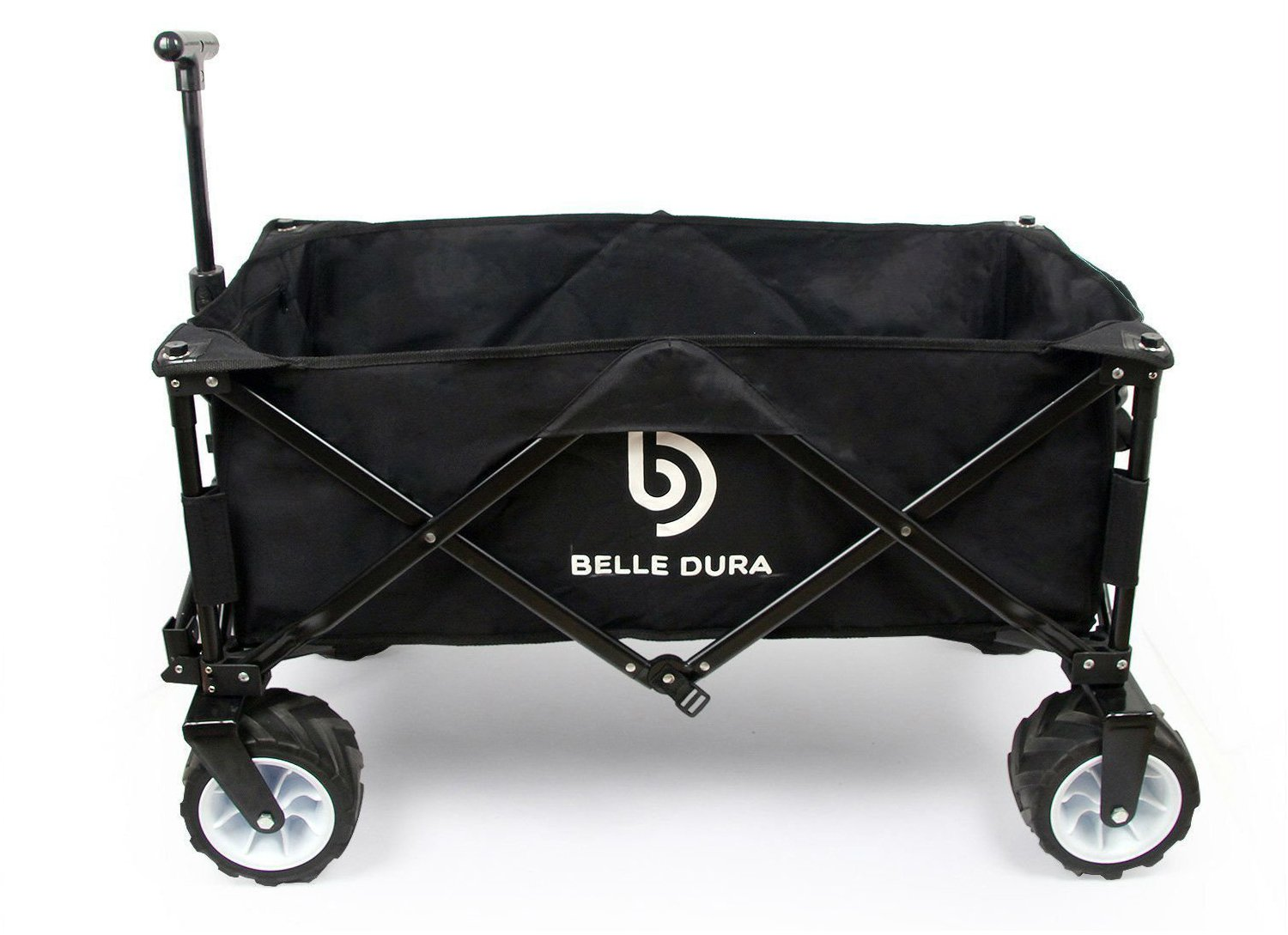 Belle Dura Folding Wagons, Collapsible Camping Utility Beach Cart Black with Beach Wheels and Sturdy Steel Frame for Outdoor Shopping Garden Wagon Cart