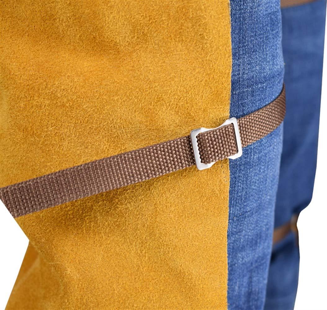 Insun Pantalones de Cuero para Soldador Pantalones de Trabajo de Seguridad Estilo Delantal Resistente a las Llamas Amarillo Un tama/ño