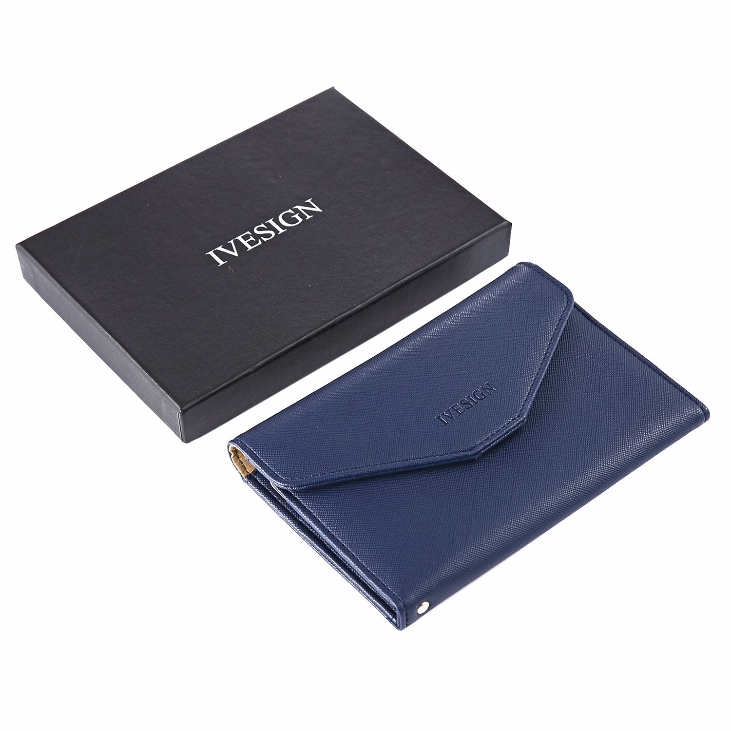 IVESIGN Travel Passport Wallet Trifold Envelope Document Organizer Holder (Blue)